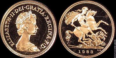 Great Britain: 1983 Elizabeth II Half Sovereign Gold ** Cameo Proof **