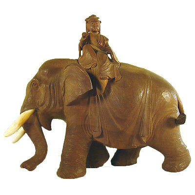 Carved Elephant with Japanese Woman Scholar - 1880