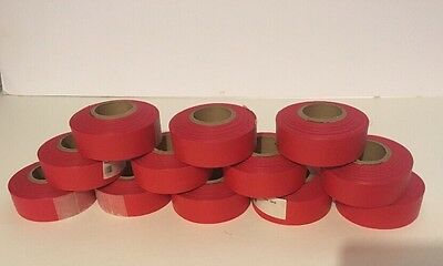 12 ROLLS 300 ft  RED 3 MIL VINYL FLAGGING TAPE MARKING RIBBON FT1