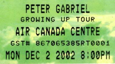 PETER GABRIEL Concert Ticket  2002 Air Canada Centre, Toronto
