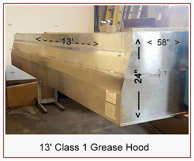 13' HOOD RESTAURANT EXHAUST GREASE CLASS 1 Good Quality Stainless
