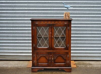 Small Vintage Oak Bookcase Cabinet Old Charming.