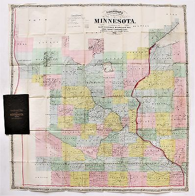1866 Minnesota Map Chapmans Sectional Surveyed Part Railroads EXTREMELY RARE