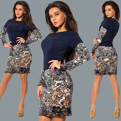 Women Mini Ladies Cocktail Party Evening Bodycon Bodycon Long Sleeve Midi Dress