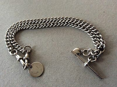 vintage silver watch chain with t bar and two fobs 41cms