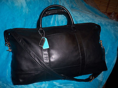 COACH Black Leather Travel Carry On Luggage/Weekender/Duffle Bag-BLUE TAG ADDED