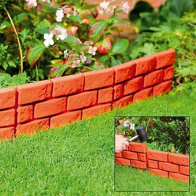 32 x Garden Patio Edging Brick Effect Plastic Hammer-In Lawn Border Terracotta