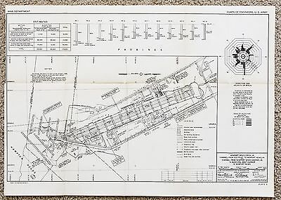 1945 Newport News Virginia Map Harbor Survey Railroads Hampton Roads Original