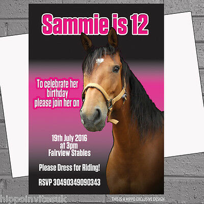 12 x Personalised Horse Party Invitations Riding Kids Birthday Brown | H0969