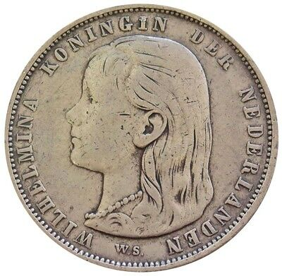 1892 Silver Netherlands Gulden Long Hair Wilhelmina Coin Very Fine Condition