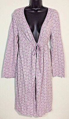 Motherhood Sleepwear Lavender Light Robe Size Medium White Floral Maternity