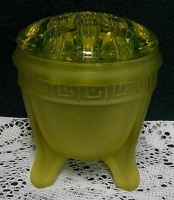 Yellow Frosted Vaseline Uranium Glass 3 Footed Vase With Flower Frog Greek Key