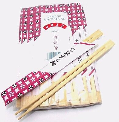 40 Pairs Chinese Chopsticks Wooden Bamboo Individually Wrapped Square End
