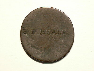 Great Britain Penny  Counterstamped H.P. HEALEY Uniface  #G5280