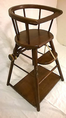 Antique  Vintage Wooden Convertible Baby High Chair Folds Down Child's Stroller