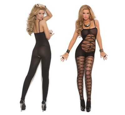 Elegant Moments, Opaque Criss Cross Bodystocking With Open Crotch, Bodysuit
