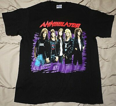 Annihilator World Tour '90-1991 Rare Vintage Shirt Anthrax Exodus Testament Xl