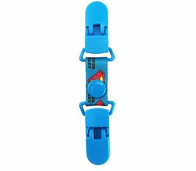 Ruban attache doudou fait-main court 2 pinces clips 11cm bleu Superman Superbaby