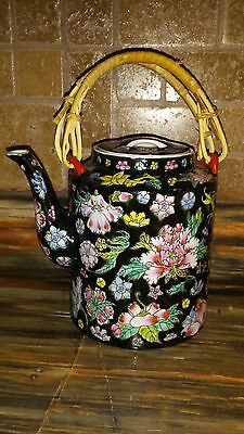 Chinese Black floral millefleur teapot