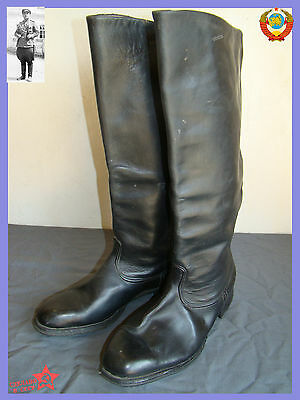 NEW Sz.42 Soviet Parade Rare  Chrome  Leather Army Officer High Boots