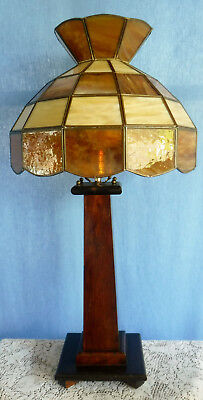Antique Vtg Arts and Crafts Mission Oak Lamp with Brown Tan Leaded Glass Shade