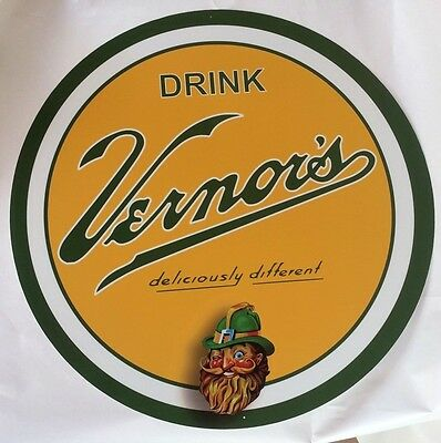 """Vernor's Ginger Ale 24"""" Round Metal Sign - New -"""