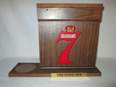 """Vintage Seagrams 7 Bottle Dispaly Stand """"the Sure One"""" -Rare"""