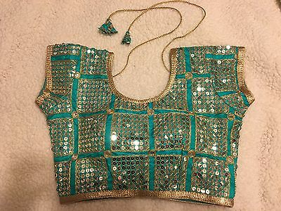 USA - Designer Embroidery Stitched Saree Blouse Silk Cotton Blend Choli 32 Green