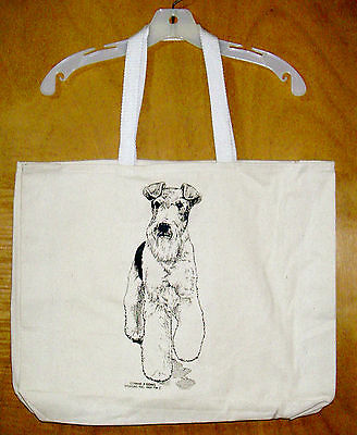 FOX TERRIER (Wire-Haired) Coming&Going XL 100% Cotton Canvas Tote Bag