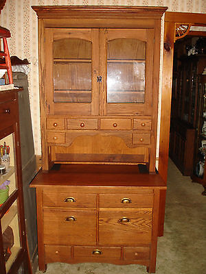 Antique Oak Kitchen Cabinet Large Heavy Solid Wood Cupboard Two Piece VGC