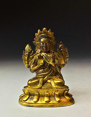 Antique Chinese Qing Dynasty Miniature Gilt Bronze Buddha