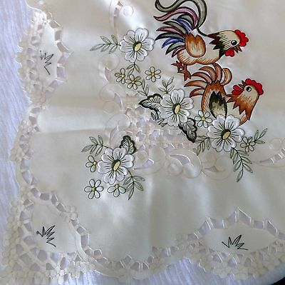 Embroidered Rooster and Hen Cut Work Lace Square Table Linens 33 x 33
