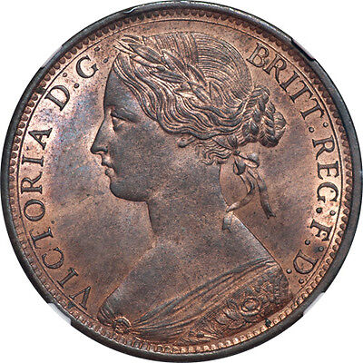 Great Britain 1870 Victoria Bronze Penny NGC MS-63 Red Brown SCARCE!!