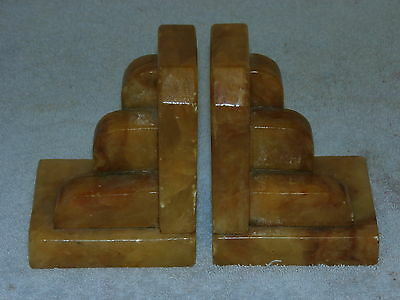 ART DECO Alabaster or Onyx Bookends c1930s