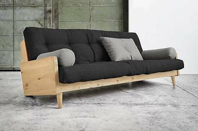 Canapé 3/4 places convertible INDIE style scandinave futon dark grey couchage
