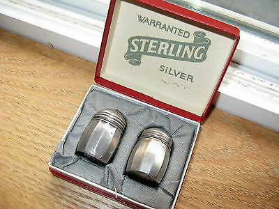 Antique vintage individual sterling salt and pepper shakers in Original Box