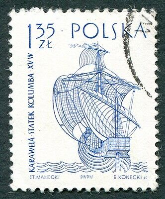 POLAND 1964-5 1z35 SG1459 used FG Sailing Ships 2nd series Santa Maria a #W27