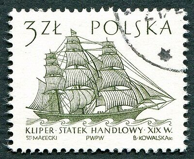 POLAND 1964-5 3z SG1465 used NG Sailing Ships 2nd series Flying Cloud b #W27