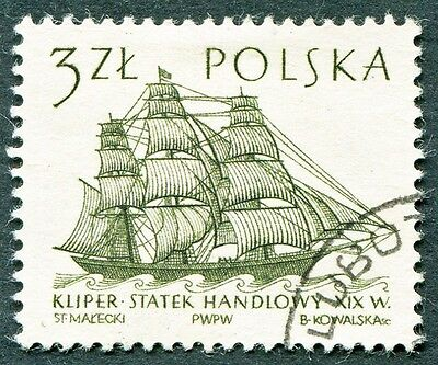 POLAND 1964-5 3z SG1465 used NG Sailing Ships 2nd series Flying Cloud c #W27