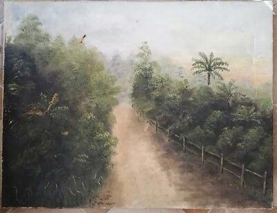 Old Australian antique oil painting on canvas signed Bulli Pass. Wollongong NSW
