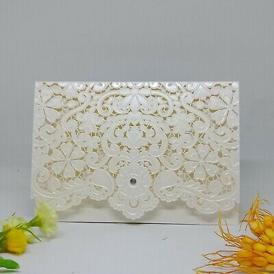 Laser Cut Wedding Invitations Embossing Pocket Cards With Envelope, Ivory / Gold