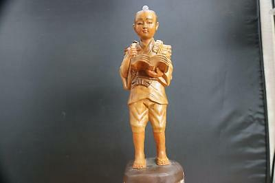 Vintage Chinese Hand Carved Wooden Figurine Statue Boy Reading Book.
