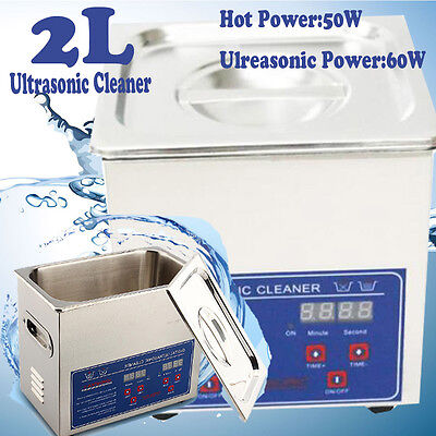 Stainless Steel 2 L Liter Industry Heated Ultrasonic Cleaner Heater w/Timer USA