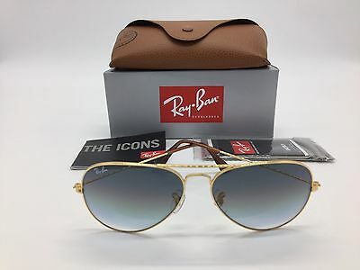 New Ray Ban Sunglasses RB 3025 001/32 Gold Frame Grey Gradient Aviator Lens 58mm