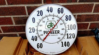 """Vintage NOS Original Pioneer Seed Corn Farm12"""" Metal Thermometer Sign - In Box"""