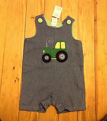 NWT Baby Boys 12 Month Blue Chambray Tractor Romper Shortall Blue Summer Outfit