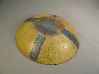 Antique New England Small Wooden Dough Bowl In Old Yellow And Blue Paint