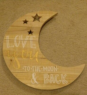 Love You To The Moon and Back Baby Nursery Wall Decor Half Moon Shaped Star Wood