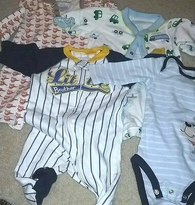 carter's boys sz 0-3 months multi color long sleeve mixed item lot 4 one pieces