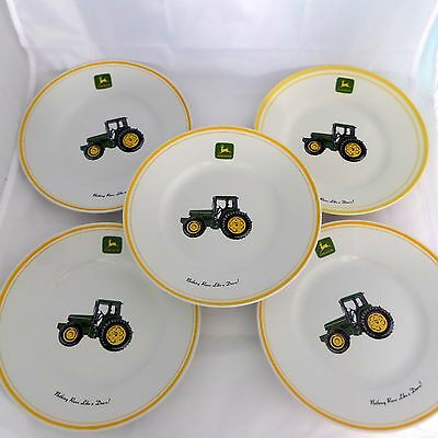 "Set of 5 John Deere Tractor 9"" Salad Plates by Gibson Designs"